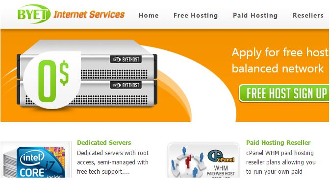 Byet cung cấp hosting miễn phí đến từ Mỹ.