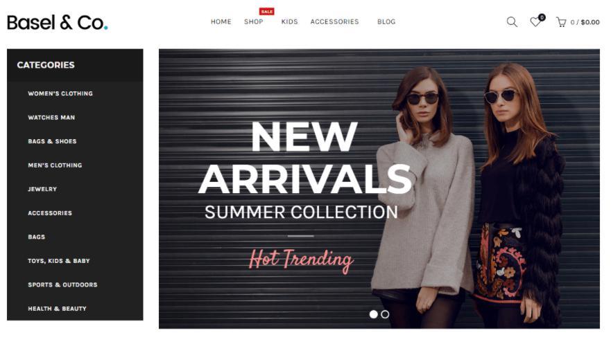 theme WordPress bán hàng thời trangbasel